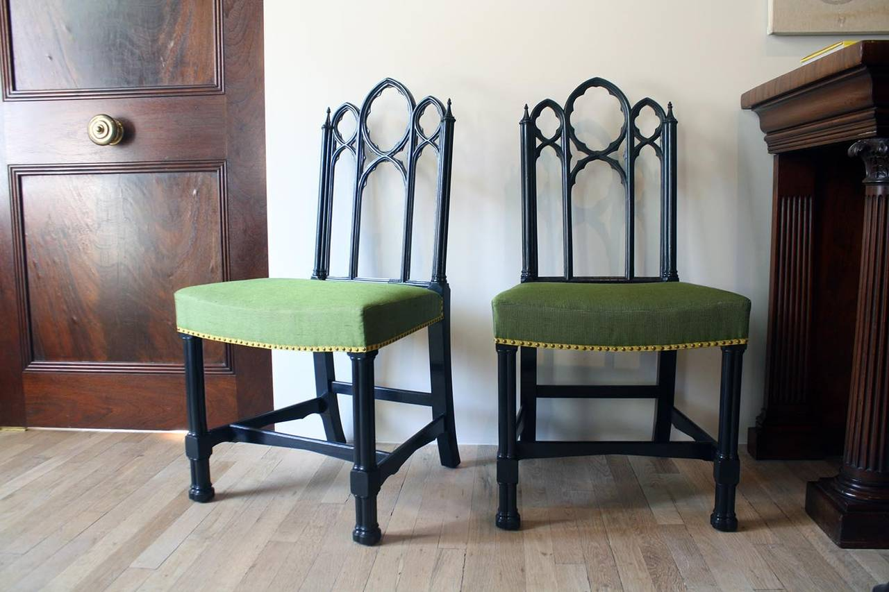 American Set of Four Ebonized Gothic Side Chairs For Sale