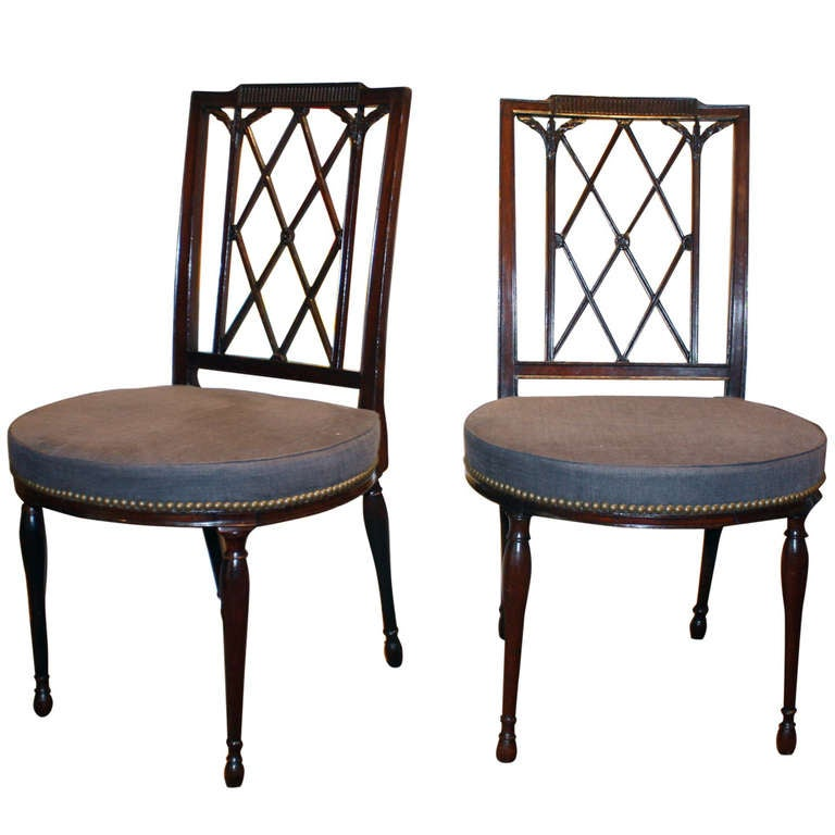 Pair of sheraton mahogany side chairs at 1stdibs for What is sheraton style furniture
