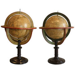 Assembled Pair of Terrestrial and Celestial Globes by Delamarche and Fortin