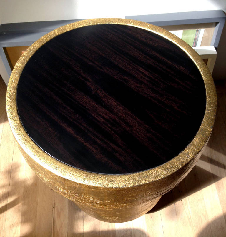 Contemporary Mahogany and Gilded Ceramic Tulip Table by Andrea Koeppel For Sale