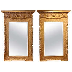 Rare Pair of Early Georgian Giltwood Pier Mirrors in the Manner of William Kent