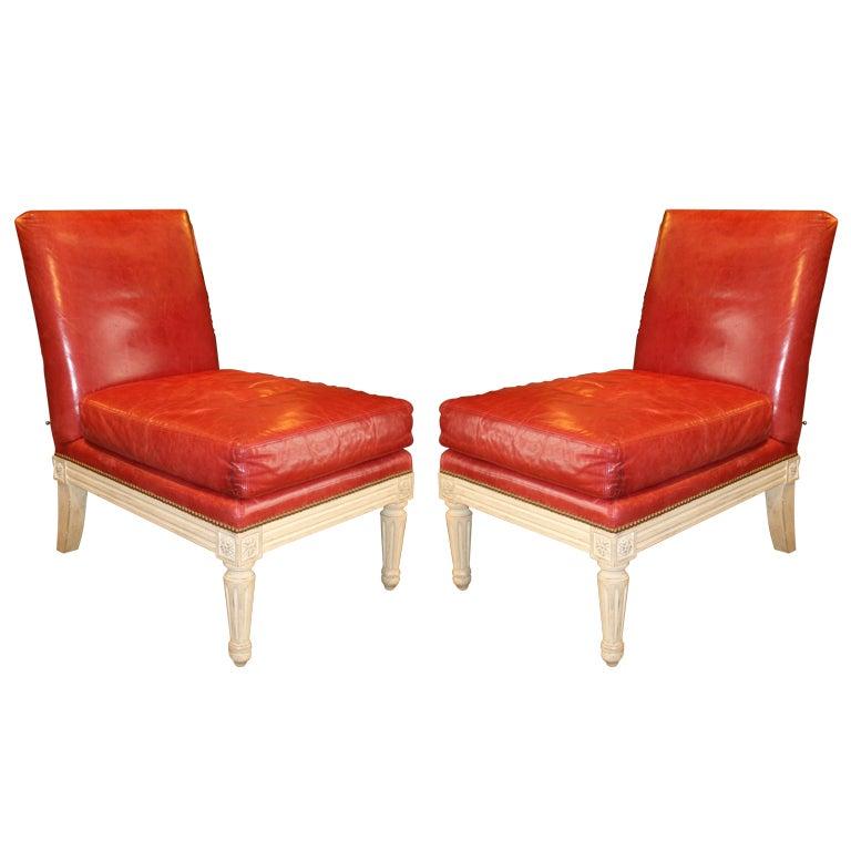Pair of Louis XVI Red Leather Upholstered and White