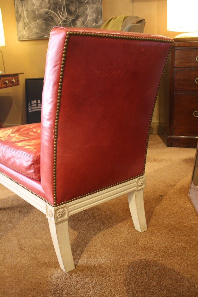 Pair of louis xvi red leather upholstered and white for Red and white upholstered chairs