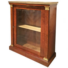 Regency Gilt Bronze Mounted Burled Wood Side Cabinet with Marble Top