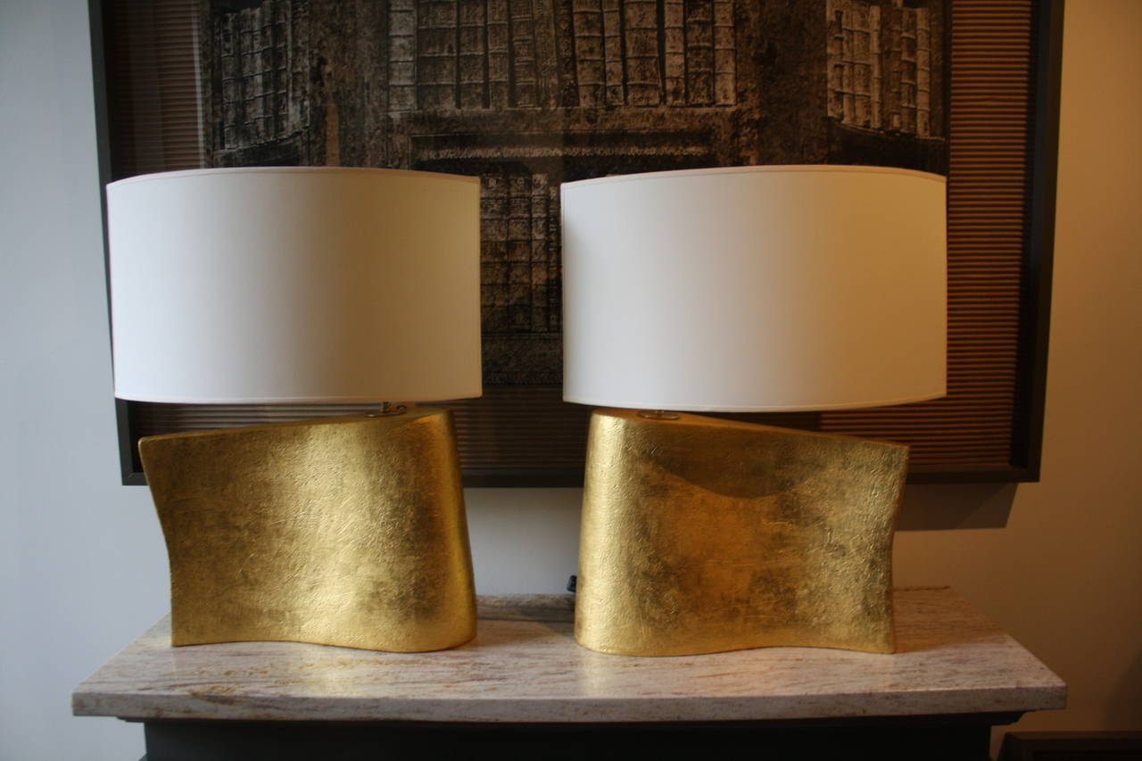 American Pair of Hand-Coiled and Gilded Wave Lamps by Andrea Koeppel For Sale