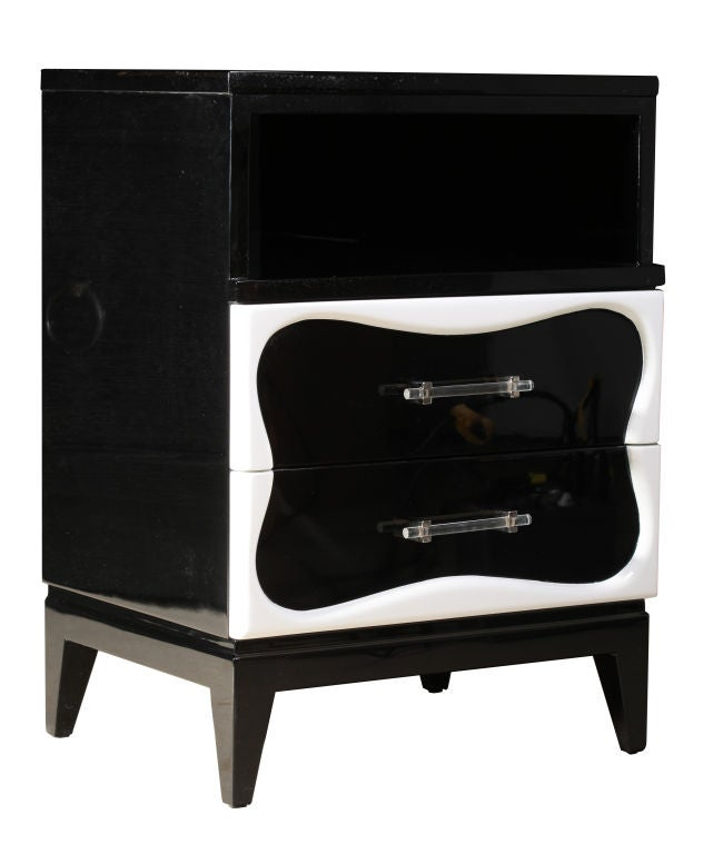 Pair Of Black And White Lacquer Night Stands By Dorothy
