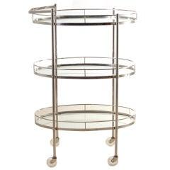 Art Deco Polished Nickel 3 Tier Serving Cart