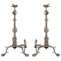 Pair of Regency Style Polished Nickel Andirons with Flame Tops
