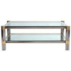 Karl Springer Gunmetal & Brass Coffee Table