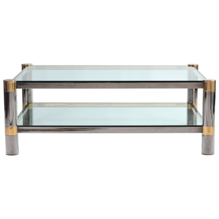 Karl Springer Gunmetal And Brass Coffee Table At 1stdibs