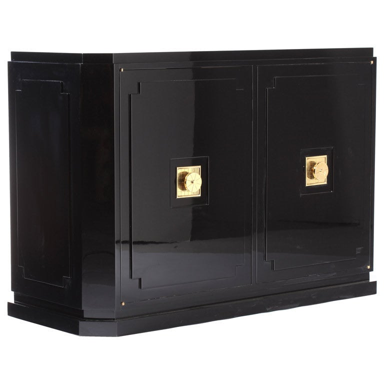 Tommi Parzinger Black Lacquer Commode