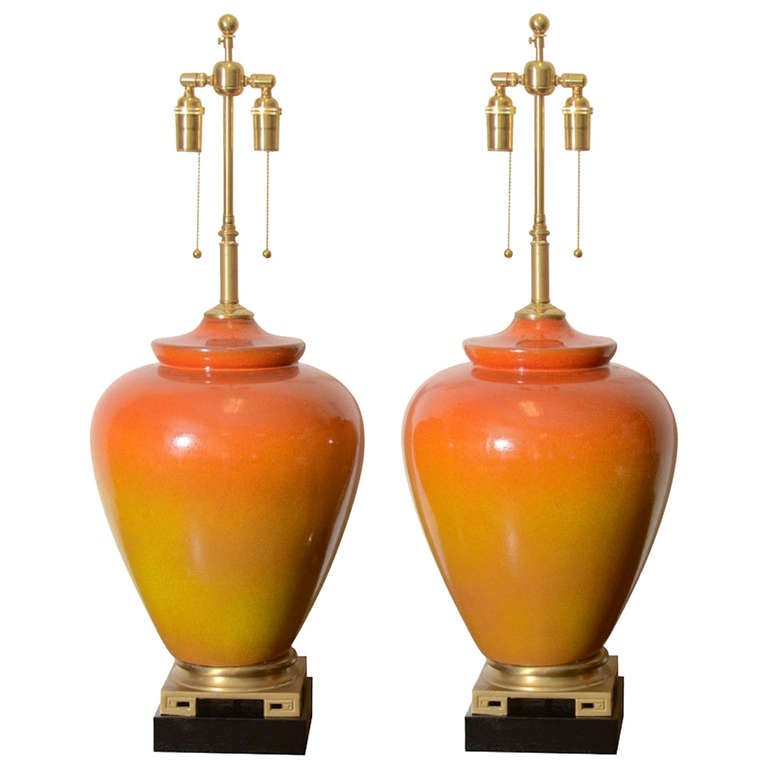 Marbro Orange Ombre Crackle Glazed Lamps