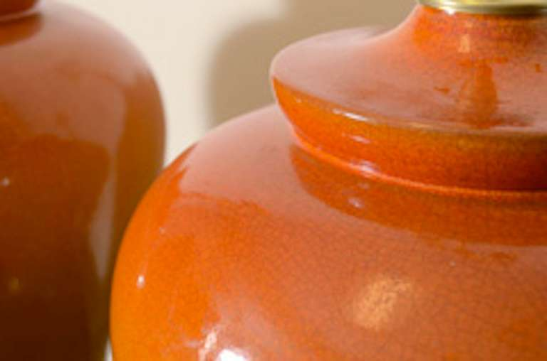 Pair of Orange Ombre Crackle Glazed Lamps 2