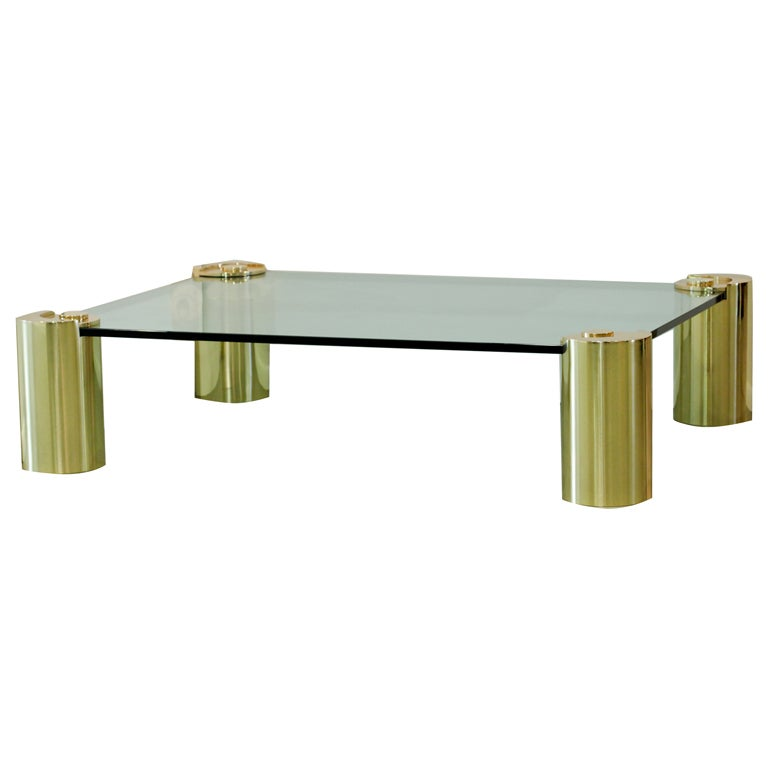 Karl Springer Brass Column Coffee Table At 1stdibs