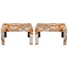 Custom Onyx Slab Side/Coffee Table, Pair Available