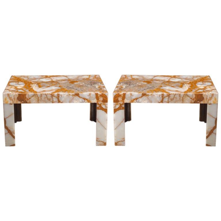 Custom Onyx Slab Side Coffee Table Pair Available At 1stdibs