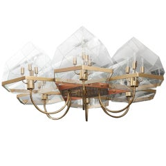 French 1970s Bronze and Glass Dome Six-Arm Chandelier