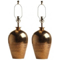 Pair of Swedish 22kt Gold Glazed Ceramic Lamps by Bergboms