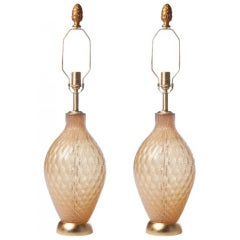 Pair of Champagne Murano Glass Lamps