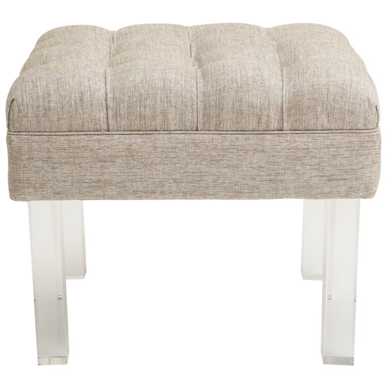 Cool Tufted Ottoman With Lucite Legs At 1Stdibs Creativecarmelina Interior Chair Design Creativecarmelinacom