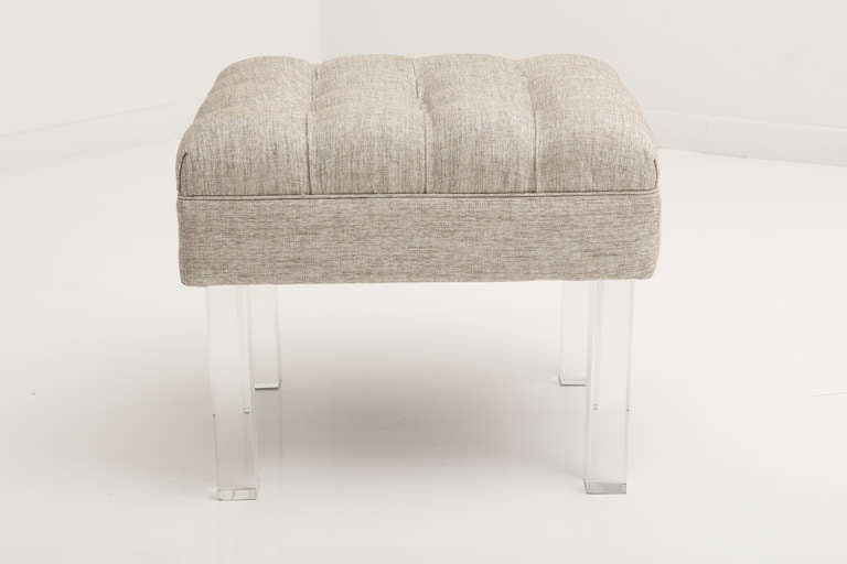 Tufted Ottoman With Lucite Legs At 1stdibs