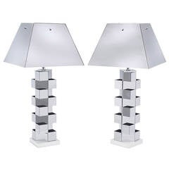 Pair of C. Jere Chrome Lamps
