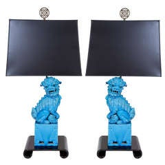 Pair of Turquoise Ceramic Foo Dog Lamps