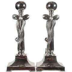Pair of Polished Nickel Art Deco Andirons with Stylized Bow