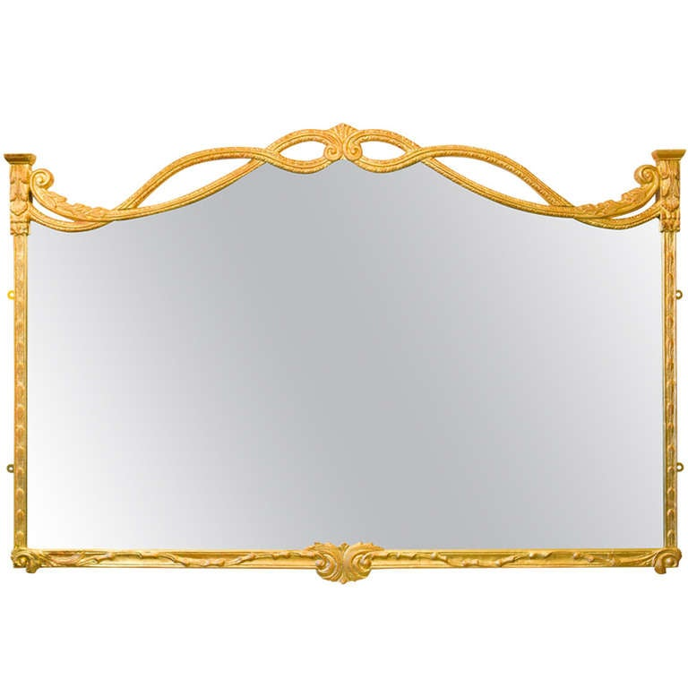 French 1940s Carved and Gilded Mirror