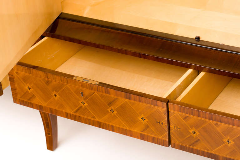 Hungarian Art Deco Sideboard with Exotic Wood Inlay For Sale 5