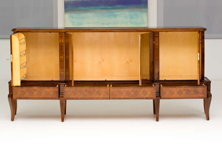 Hungarian Art Deco Sideboard with Exotic Wood Inlay For Sale 3