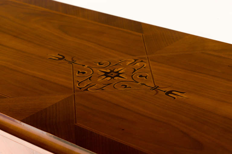 Ebony Hungarian Art Deco Sideboard with Exotic Wood Inlay For Sale