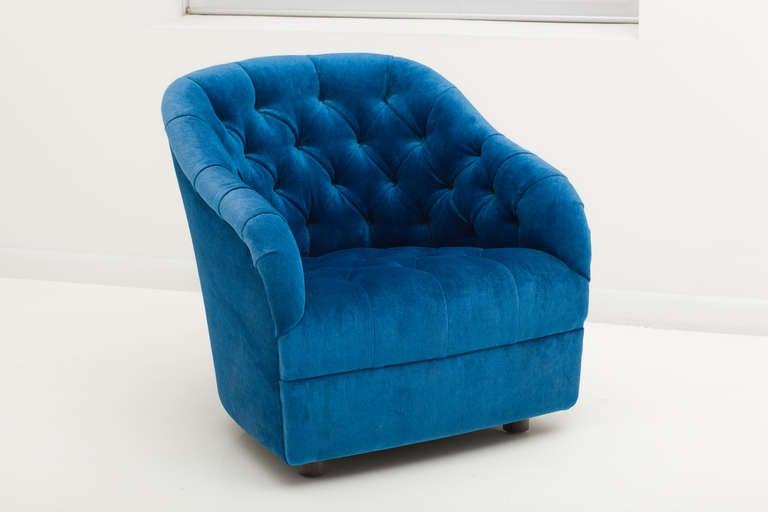 Mid-Century Modern Ward Bennett Sapphire  Blue Mohair Club Chairs For Sale