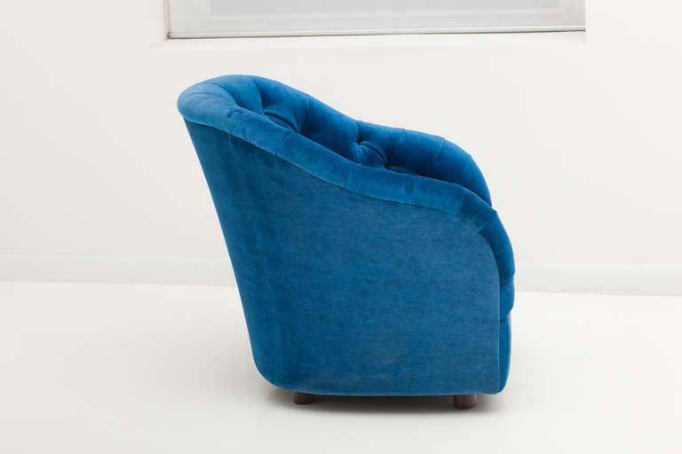 American Ward Bennett Sapphire  Blue Mohair Club Chairs For Sale