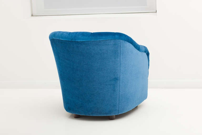 Ward Bennett Sapphire  Blue Mohair Club Chairs In Excellent Condition For Sale In New York, NY