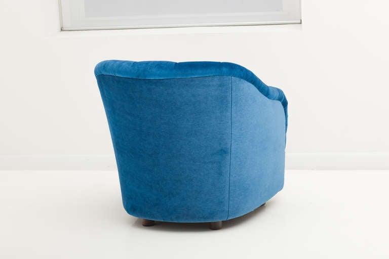 Ward Bennett Sapphire  Blue Mohair Club Chairs 5