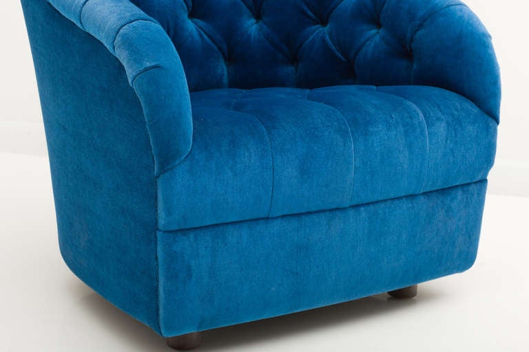 20th Century Ward Bennett Sapphire  Blue Mohair Club Chairs For Sale