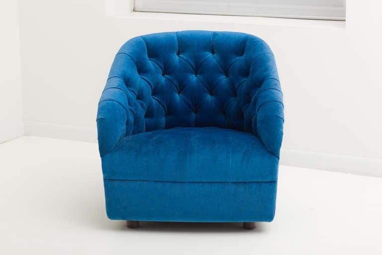 Ward Bennett Sapphire  Blue Mohair Club Chairs 2