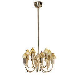 Hans Agne Jakobsson Brass and Amber Glass Chandelier