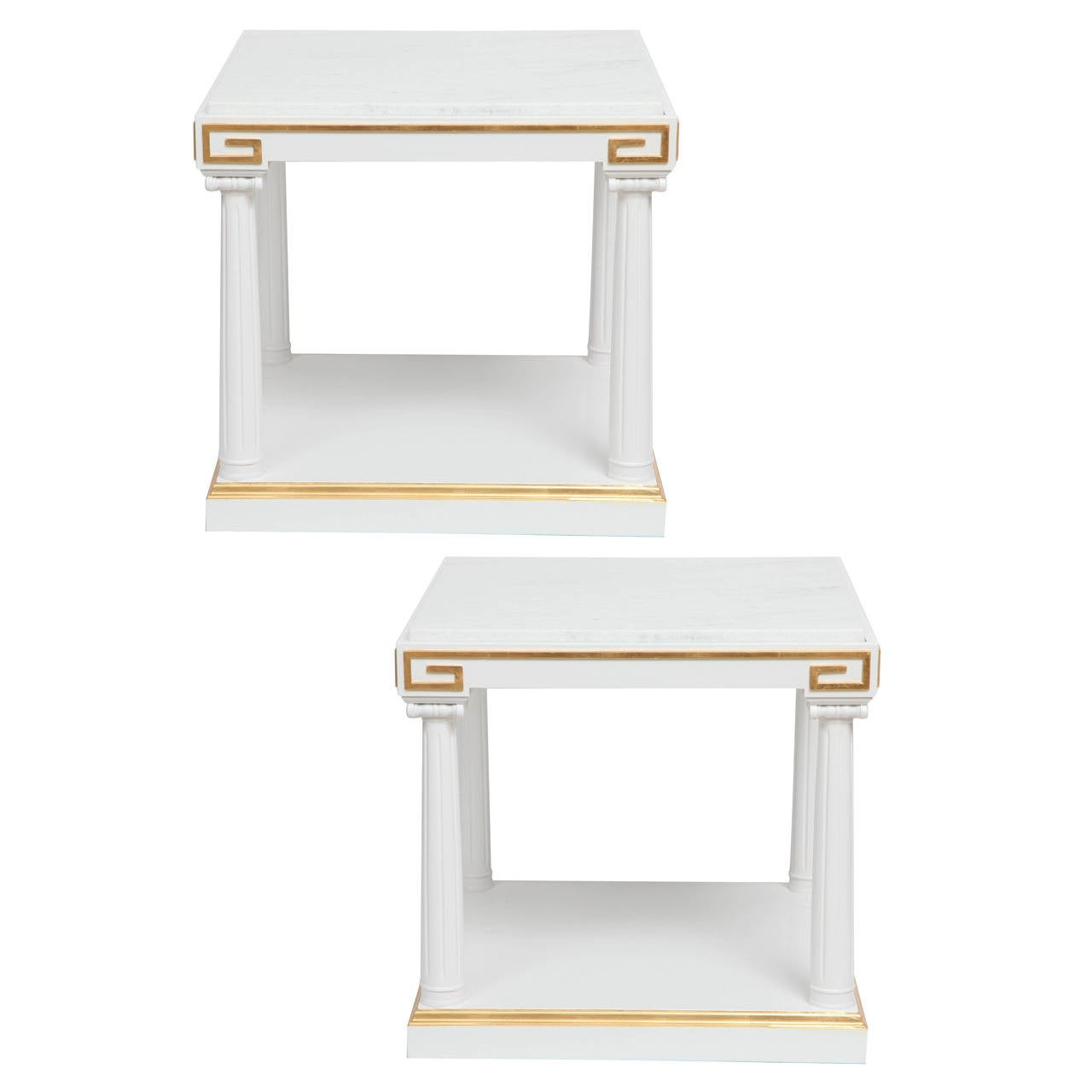 Grosfeld House White Lacquer and Gold Leaf Side Tables