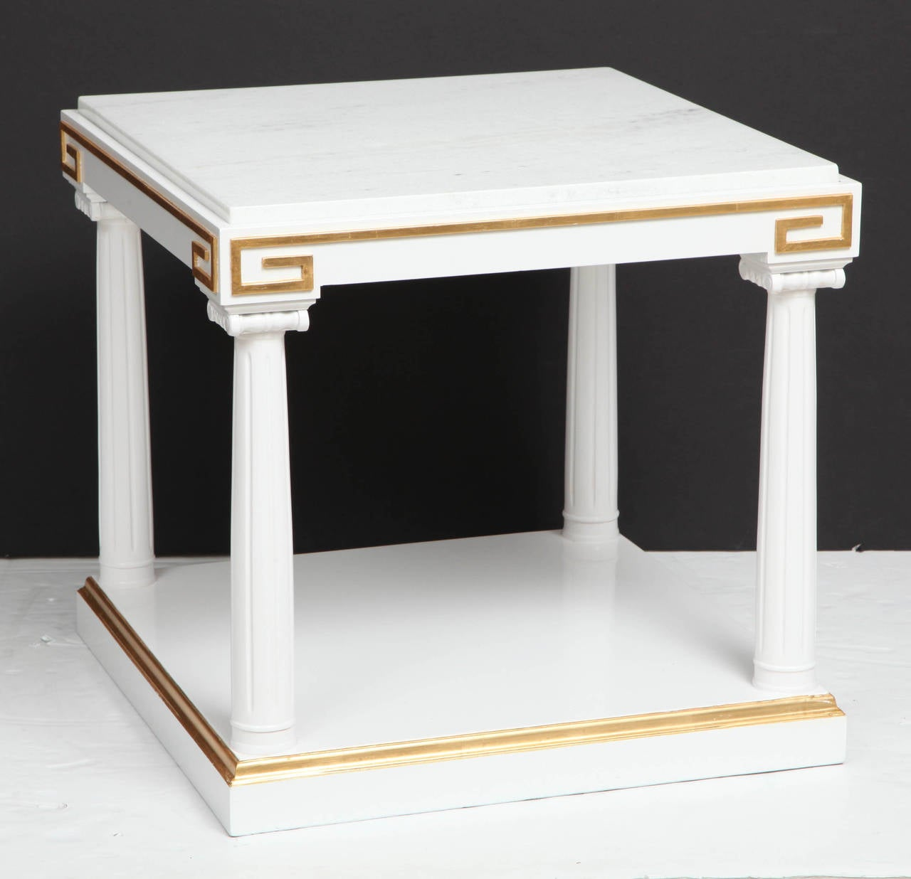 Grosfeld House White Lacquer and Gold Leaf Side Tables For Sale 3