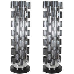Chrome Tower Lamps by C. Jere