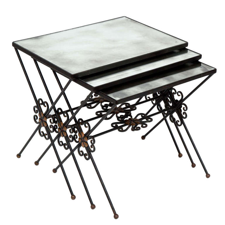 French Wrought Iron Nesting Tables For Sale