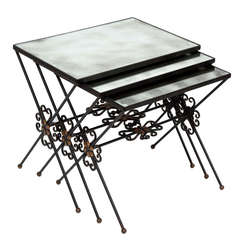 Set of French Wrought Iron Nesting Tables