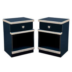 Pair of Art Deco Midnight Blue Lacquer Nightstands with Silver Leaf