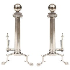 Pair of Neoclassical Style Column Andirons