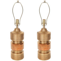Pair of Gold Glazed Ceramic TOTEM Lamps by Bitossi/Bergboms
