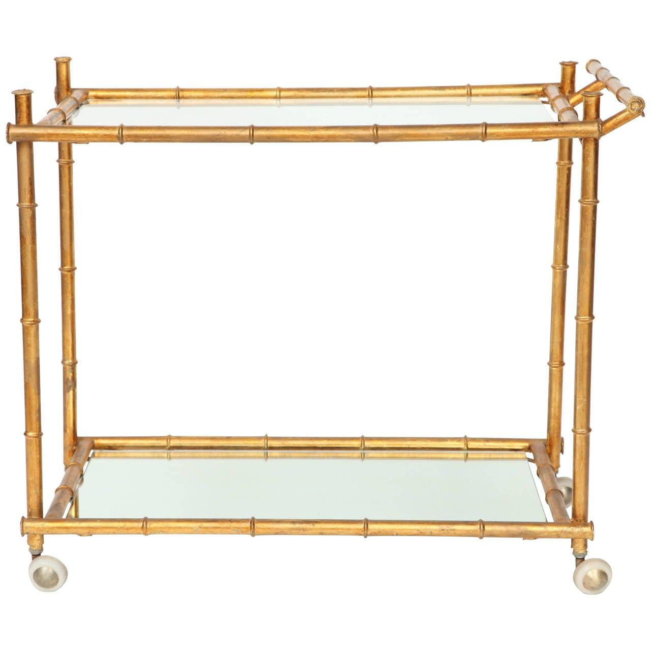 Italian Gilt Iron Stylized Bamboo Serving / Bar Cart