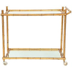 Italian Gilt Iron Stylized Bamboo Serving / Bar Cart