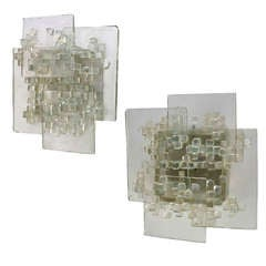 Pair of Clear Layered Glass Sconces by Svend Aage Holm Sorenson